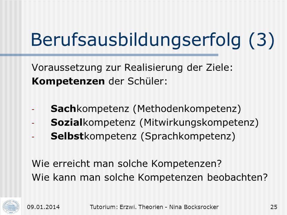 Tutorium: Erzwi. Theorien - Nina Bocksrocker2409.01.2014 Berufsausbildungserfolg (2) Zieldimensionen: (innerhalb dieser besteht Anspruch auf die Zielk