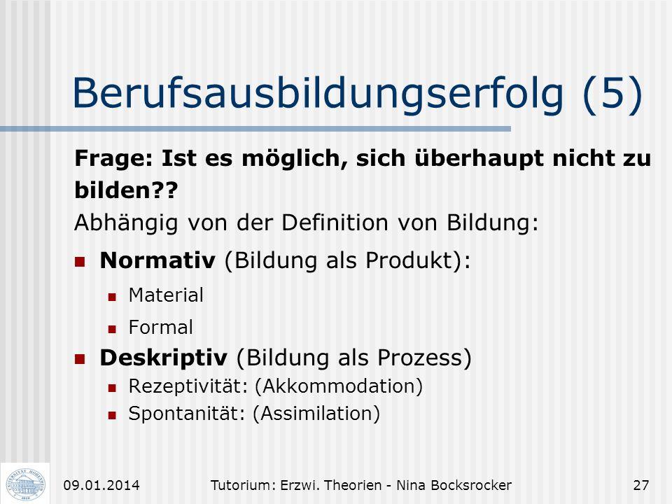 Tutorium: Erzwi. Theorien - Nina Bocksrocker2609.01.2014 Berufsausbildungserfolg (4) Entwicklungsförderliche Aspekte von Arbeits- und Lernbedingungen