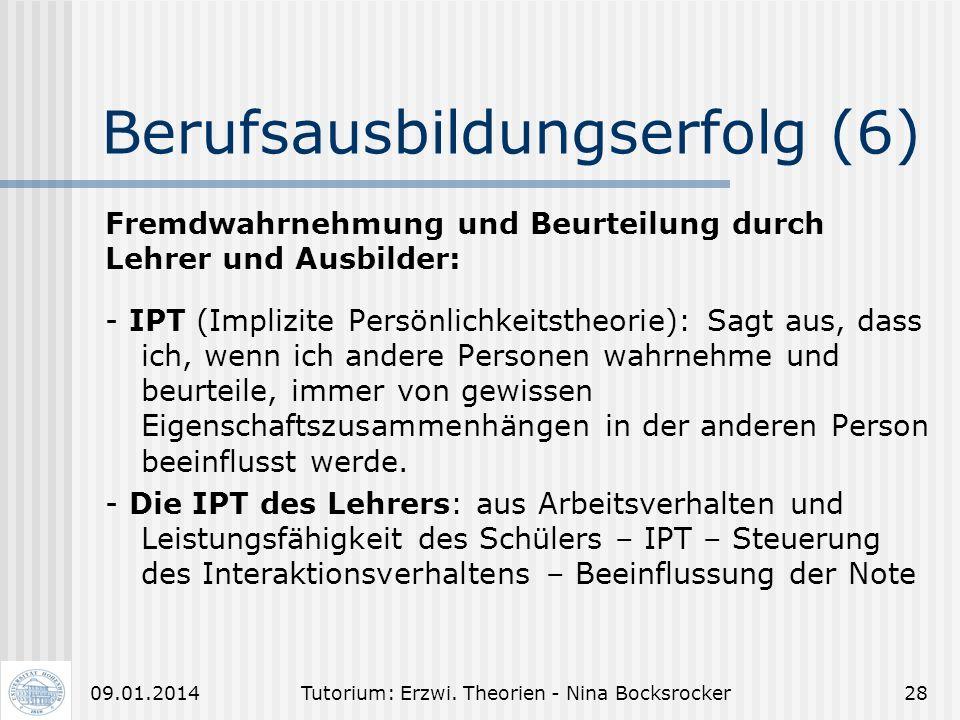 Tutorium: Erzwi. Theorien - Nina Bocksrocker2709.01.2014 Berufsausbildungserfolg (5) Frage: Ist es möglich, sich überhaupt nicht zu bilden?? Abhängig