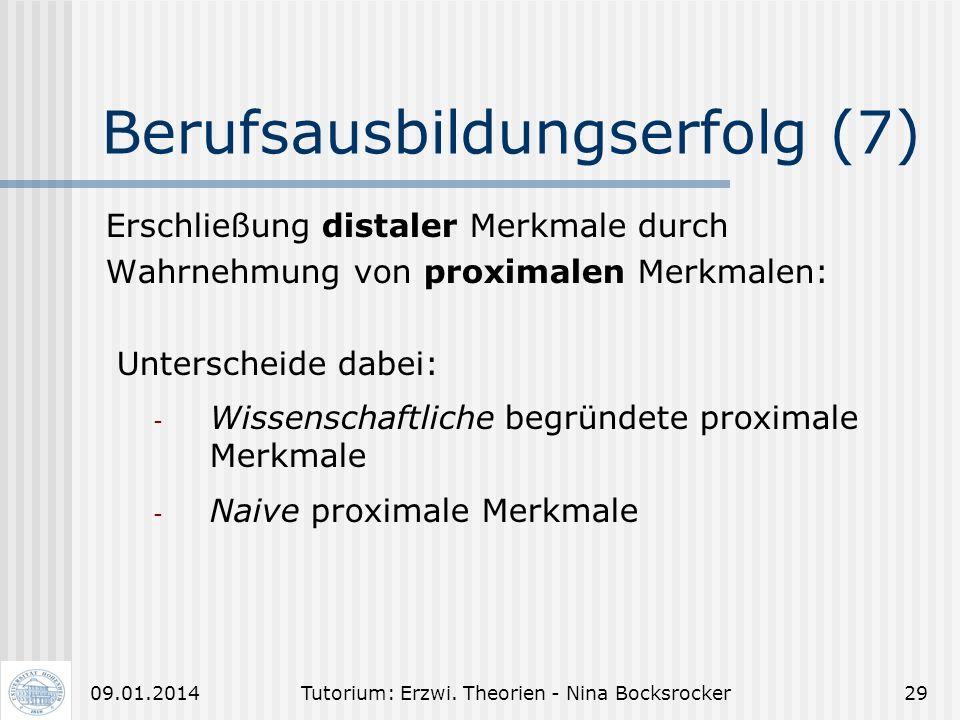 Tutorium: Erzwi. Theorien - Nina Bocksrocker2809.01.2014 Berufsausbildungserfolg (6) Fremdwahrnehmung und Beurteilung durch Lehrer und Ausbilder: - IP