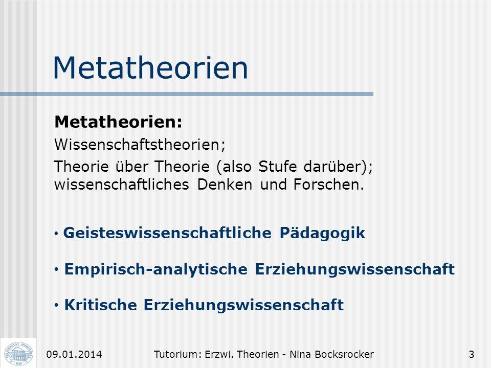 Tutorium: Erzwi. Theorien - Nina Bocksrocker209.01.2014 Tutorium: Erziehungswissenschaftliche Theorien Ziel: Schwerpunktthemen wiederholen Bisher Unve