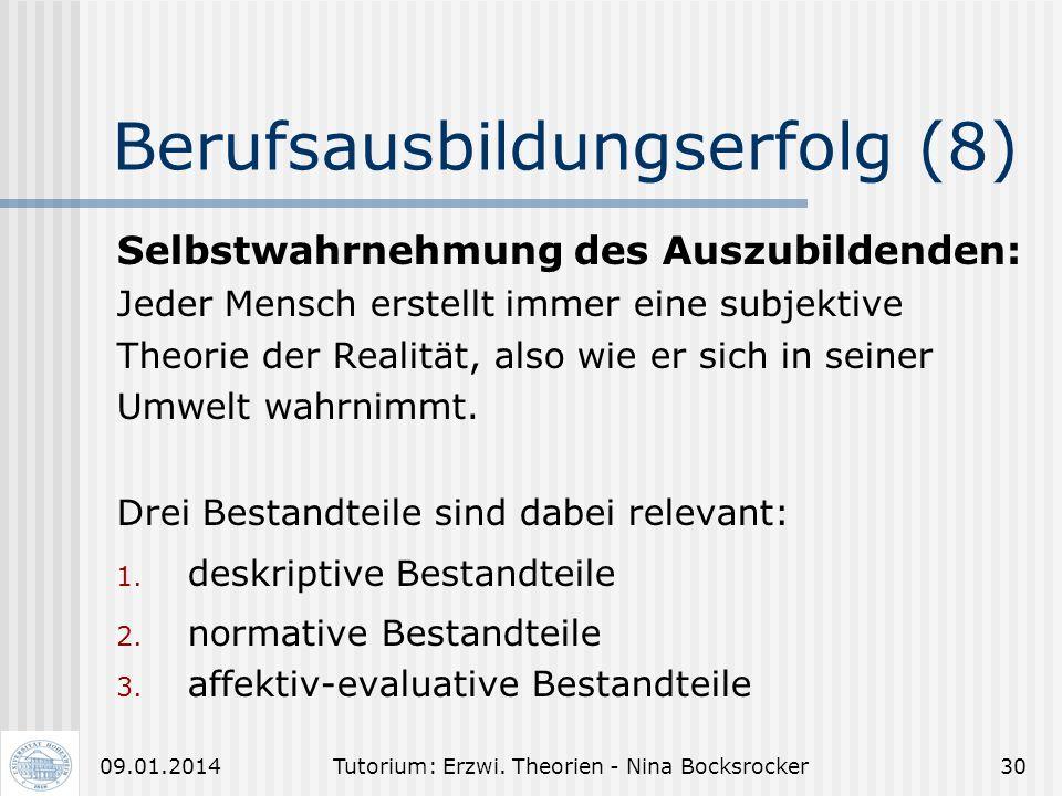 Tutorium: Erzwi. Theorien - Nina Bocksrocker2909.01.2014 Berufsausbildungserfolg (7) Erschließung distaler Merkmale durch Wahrnehmung von proximalen M