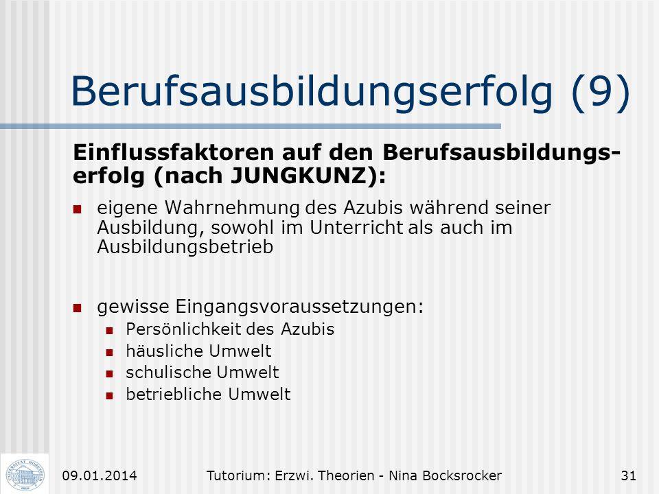 Tutorium: Erzwi. Theorien - Nina Bocksrocker3009.01.2014 Berufsausbildungserfolg (8) Selbstwahrnehmung des Auszubildenden: Jeder Mensch erstellt immer