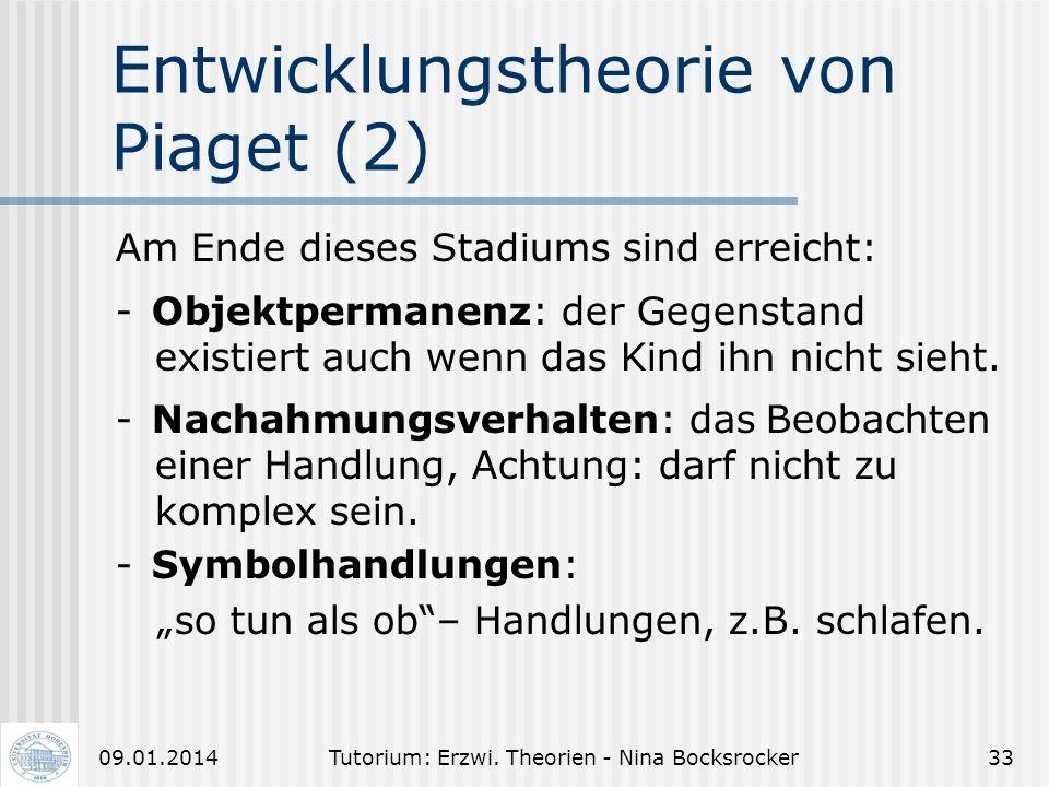 Tutorium: Erzwi. Theorien - Nina Bocksrocker3209.01.2014 Entwicklungstheorie von Piaget (1) 1. Das sensumotorische Stadium: Übung angeborener Reflexme