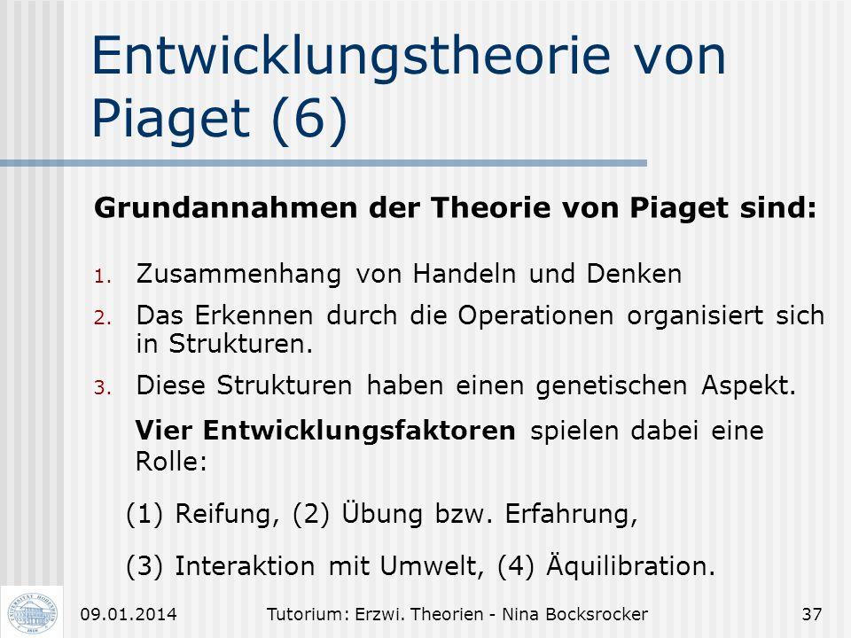 Tutorium: Erzwi. Theorien - Nina Bocksrocker3609.01.2014 Entwicklungstheorie von Piaget (5) 4. Das Stadium der formalen Operationen: Kind beginnt hypo