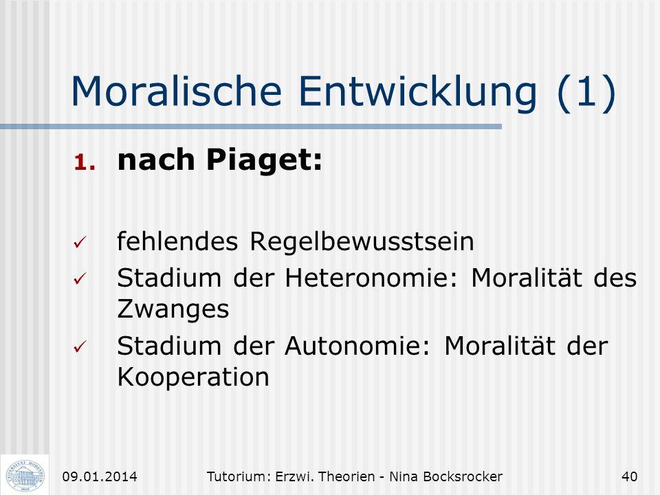 Tutorium: Erzwi. Theorien - Nina Bocksrocker3909.01.2014 Entwicklungstheorie von Piaget (8) Kritik an Piaget: Entwicklung lässt sich nicht streng in S