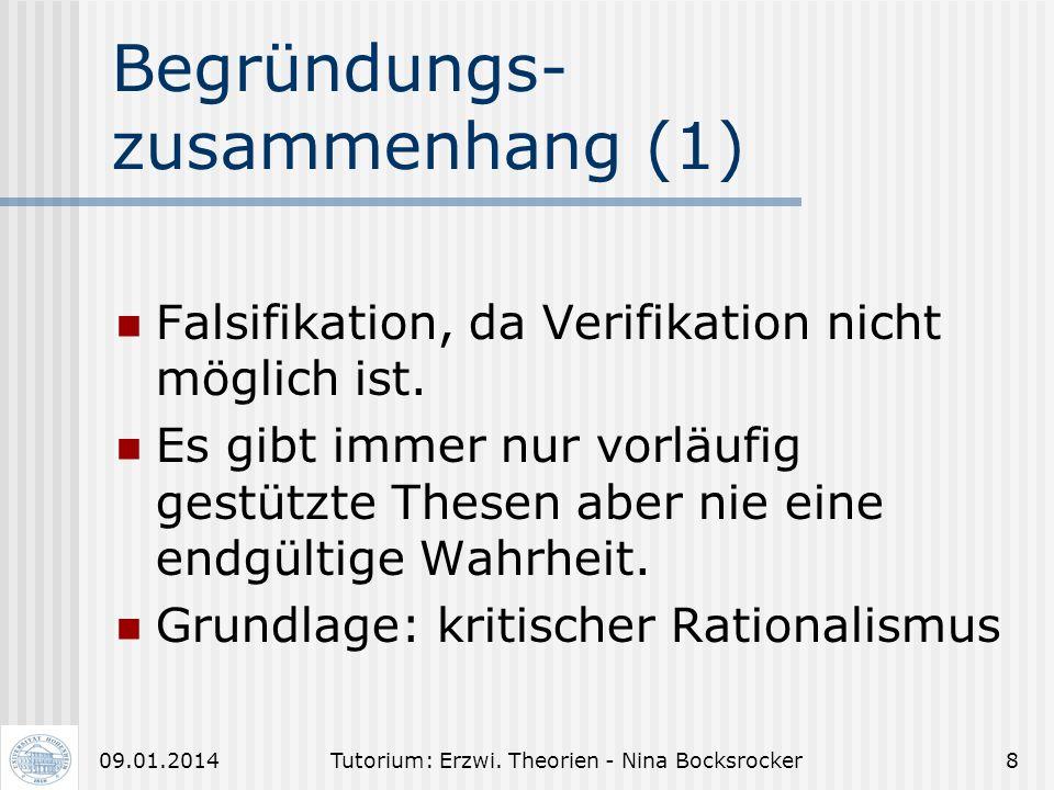 Tutorium: Erzwi. Theorien - Nina Bocksrocker709.01.2014 Empirisch-analyt. Erziehungswissenschaft (3) Stufen empirischer Untersuchungen (FRIEDRICHS): I