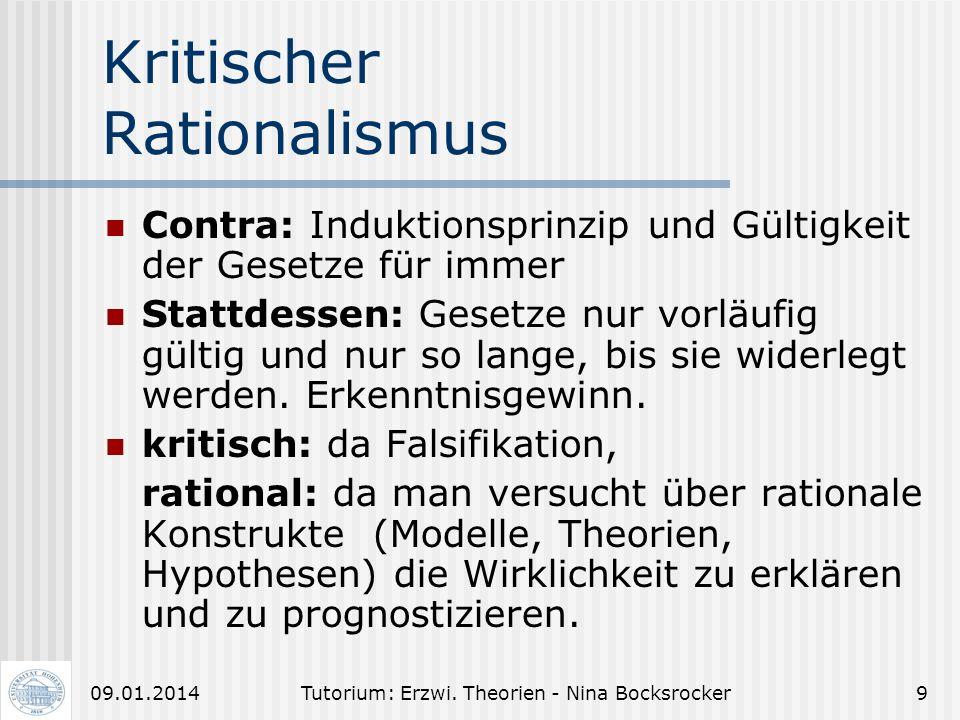 Tutorium: Erzwi. Theorien - Nina Bocksrocker809.01.2014 Begründungs- zusammenhang (1) Falsifikation, da Verifikation nicht möglich ist. Es gibt immer