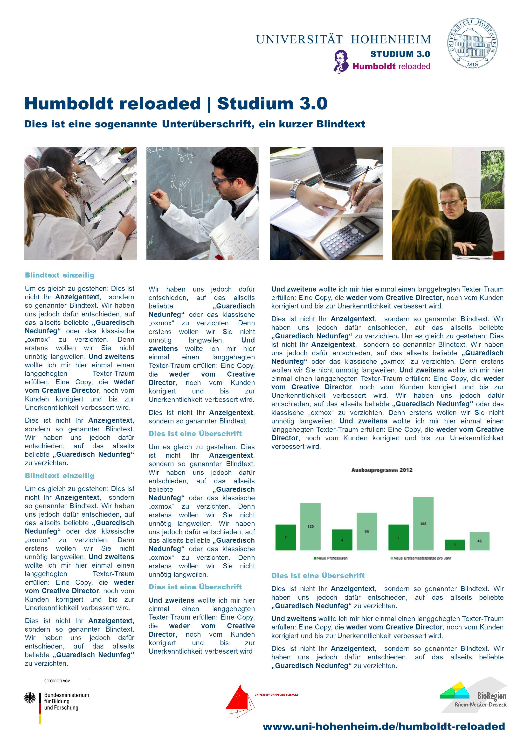 www.uni-hohenheim.de/humboldt-reloaded Humboldt reloaded | Studium 3.0 Dies ist eine sogenannte Unterüberschrift, ein kurzer Blindtext Blindtext einzeilig Um es gleich zu gestehen: Dies ist nicht Ihr Anzeigentext, sondern so genannter Blindtext.