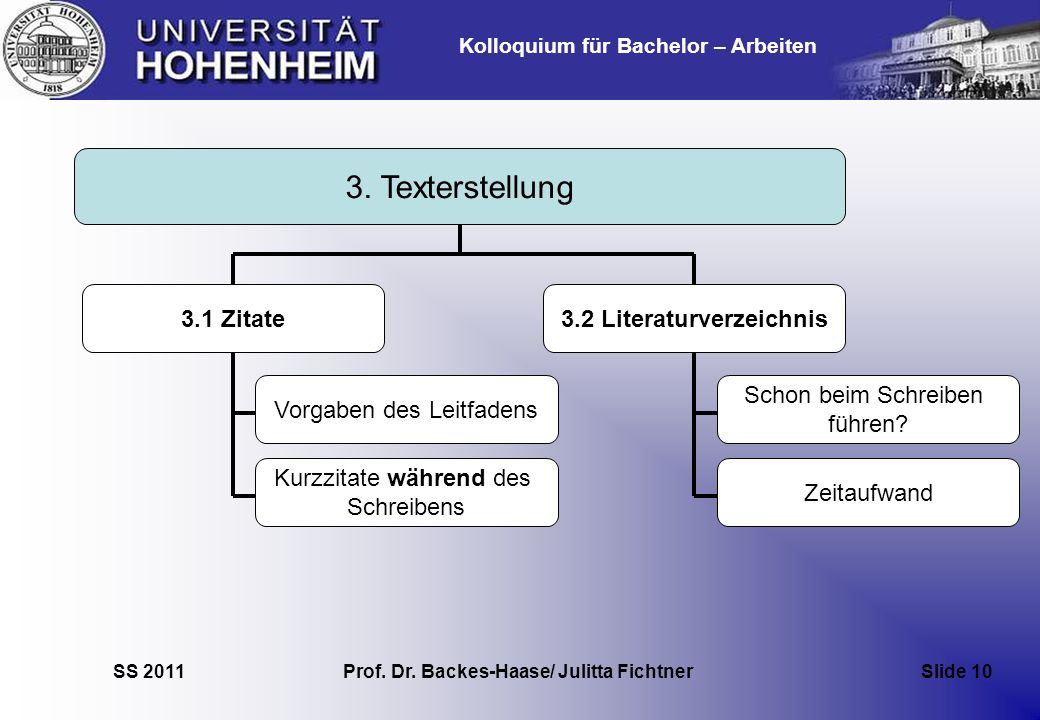Kolloquium für Bachelor – Arbeiten SS 2011 Prof. Dr. Backes-Haase/ Julitta Fichtner Slide 10 3. Texterstellung 3.2 Literaturverzeichnis Schon beim Sch