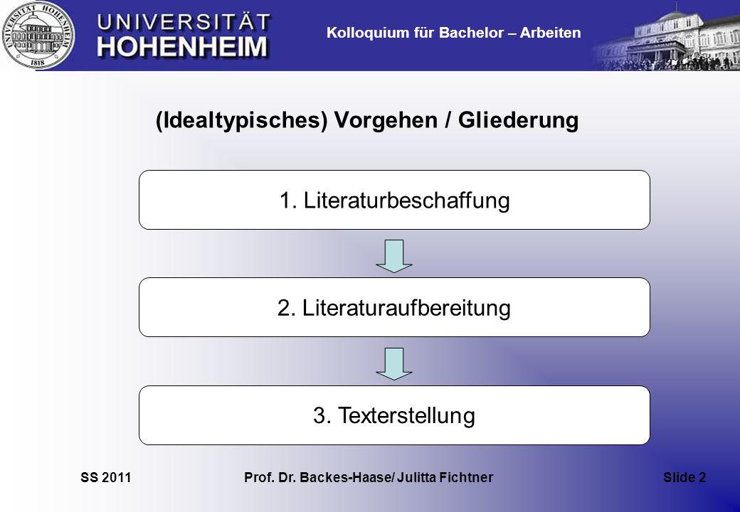 Kolloquium für Bachelor – Arbeiten SS 2011 Prof. Dr. Backes-Haase/ Julitta Fichtner Slide 2 (Idealtypisches) Vorgehen / Gliederung 2. Literaturaufbere