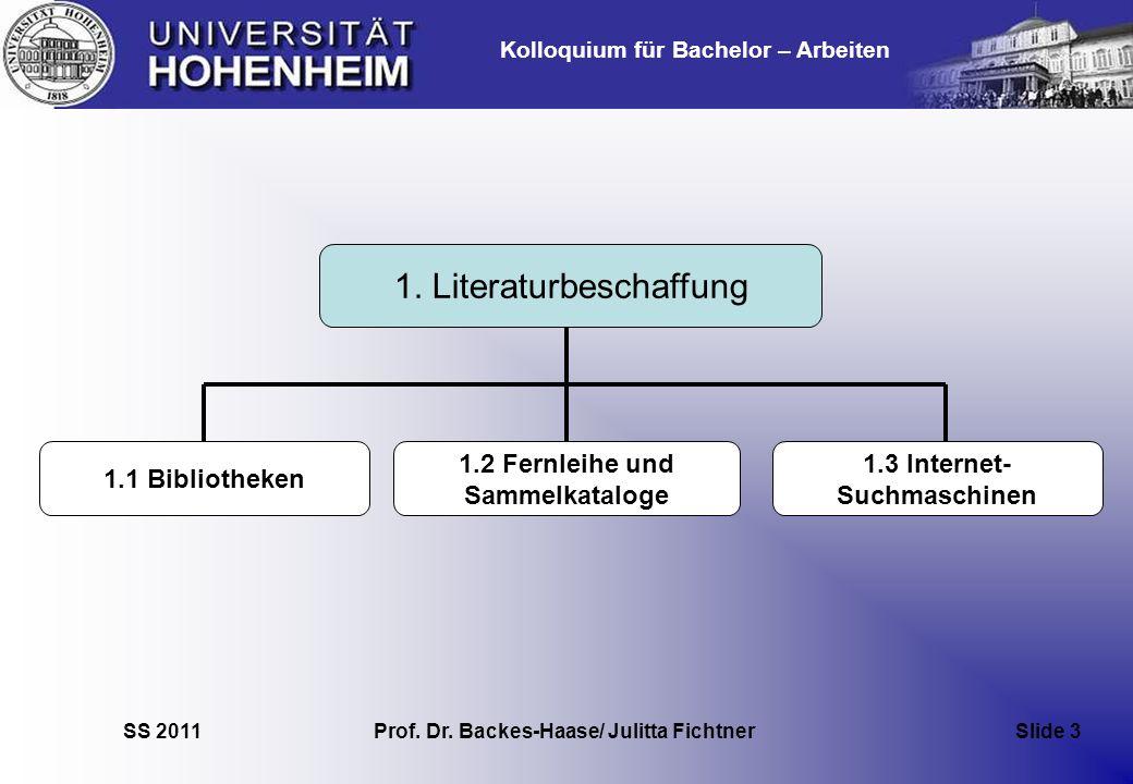 Kolloquium für Bachelor – Arbeiten SS 2011 Prof. Dr. Backes-Haase/ Julitta Fichtner Slide 3 1. Literaturbeschaffung 1.1 Bibliotheken 1.2 Fernleihe und
