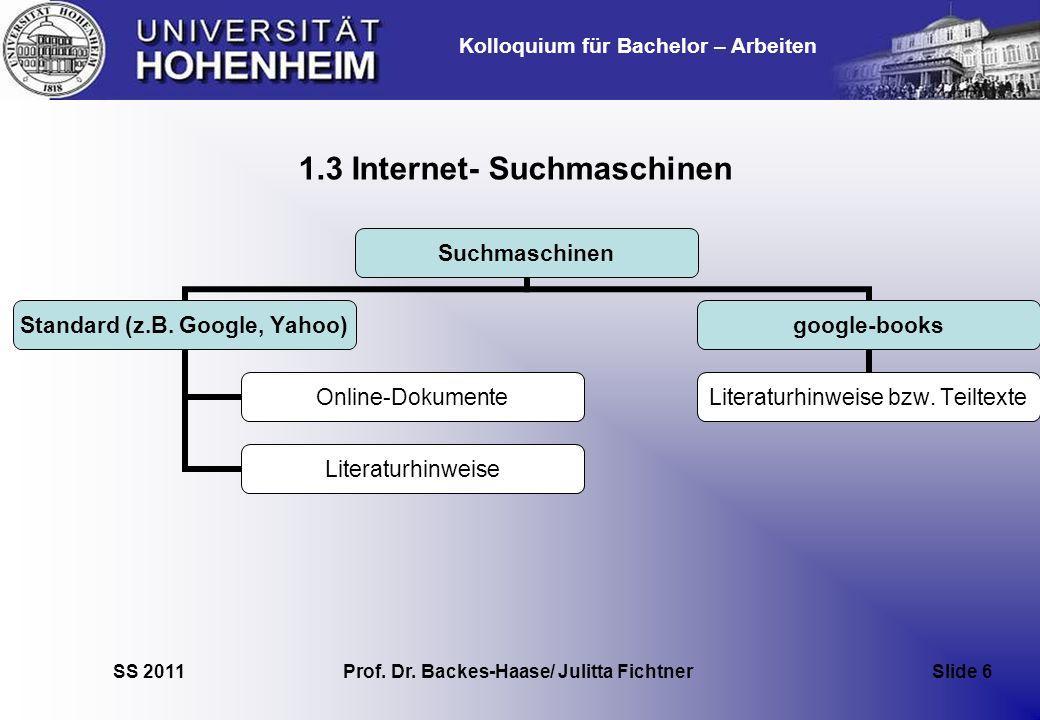 Kolloquium für Bachelor – Arbeiten SS 2011 Prof. Dr. Backes-Haase/ Julitta Fichtner Slide 6 1.3 Internet- Suchmaschinen Suchmaschinen Standard (z.B. G