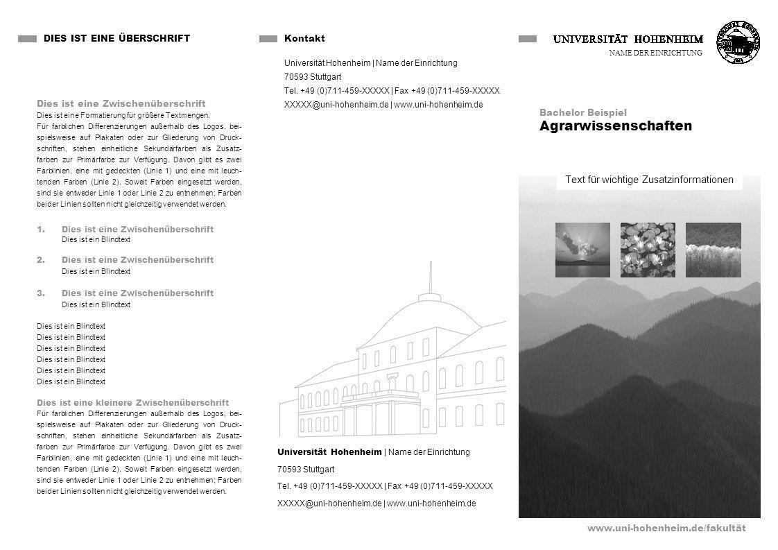Text für wichtige Zusatzinformationen DIES IST EINE ÜBERSCHRIFT www.uni-hohenheim.de/fakultät Dies ist eine Zwischenüberschrift Dies ist eine Formatierung für größere Textmengen.