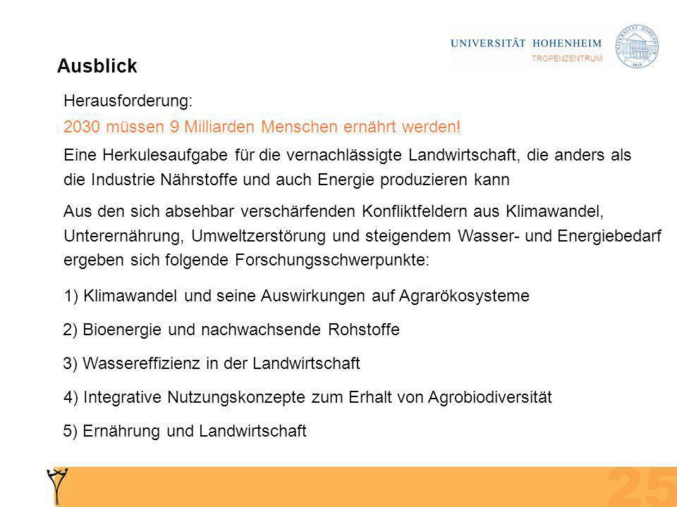 TROPENZENTRUM Ausblick 1) Klimawandel und seine Auswirkungen auf Agrarökosysteme 2) Bioenergie und nachwachsende Rohstoffe 3) Wassereffizienz in der Landwirtschaft 4) Integrative Nutzungskonzepte zum Erhalt von Agrobiodiversität 5) Ernährung und Landwirtschaft Herausforderung: 2030 müssen 9 Milliarden Menschen ernährt werden.
