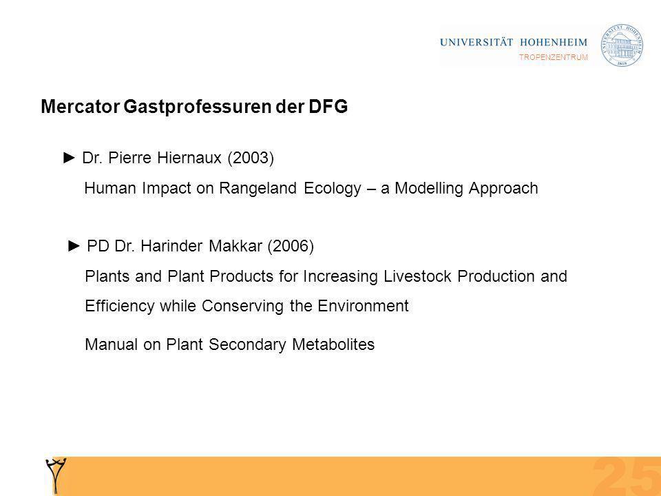 TROPENZENTRUM Mercator Gastprofessuren der DFG Dr.