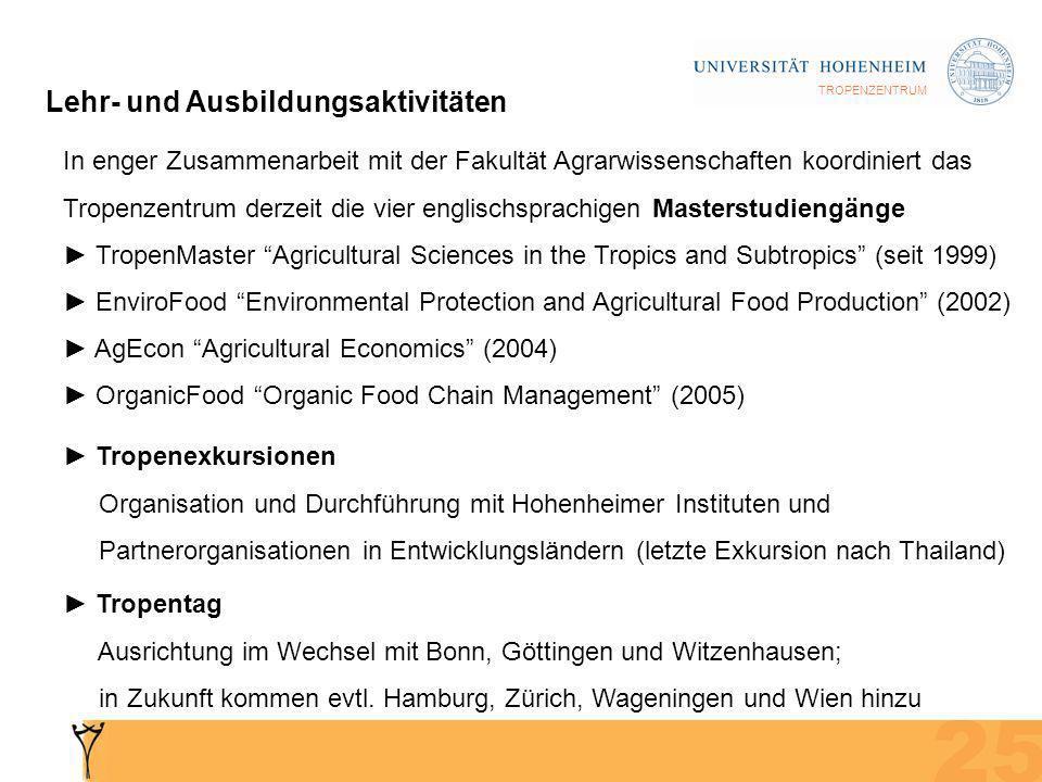 TROPENZENTRUM Lehr- und Ausbildungsaktivitäten In enger Zusammenarbeit mit der Fakultät Agrarwissenschaften koordiniert das Tropenzentrum derzeit die vier englischsprachigen Masterstudiengänge TropenMaster Agricultural Sciences in the Tropics and Subtropics (seit 1999) EnviroFood Environmental Protection and Agricultural Food Production (2002) AgEcon Agricultural Economics (2004) OrganicFood Organic Food Chain Management (2005) Tropenexkursionen Organisation und Durchführung mit Hohenheimer Instituten und Partnerorganisationen in Entwicklungsländern (letzte Exkursion nach Thailand) Tropentag Ausrichtung im Wechsel mit Bonn, Göttingen und Witzenhausen; in Zukunft kommen evtl.