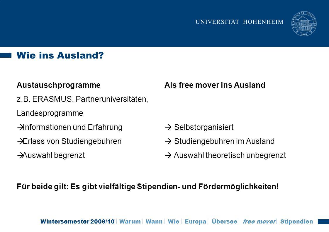 Wintersemester 2009/10 Warum Wann Wie Europa Übersee free mover Stipendien Wie geht es jetzt weiter.