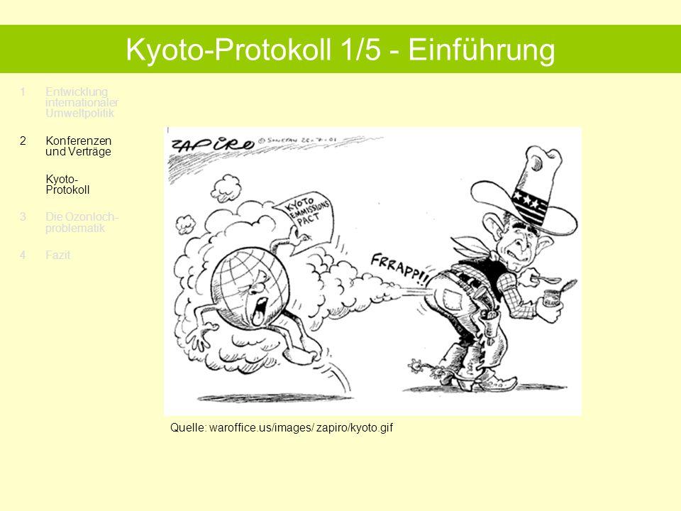 1Entwicklung internationaler Umweltpolitik 2 Konferenzen und Verträge Kyoto- Protokoll 3 Die Ozonloch- problematik 4Fazit Kyoto -Protokoll 1/5 - Einführung Quelle: waroffice.us/images/ zapiro/kyoto.gif