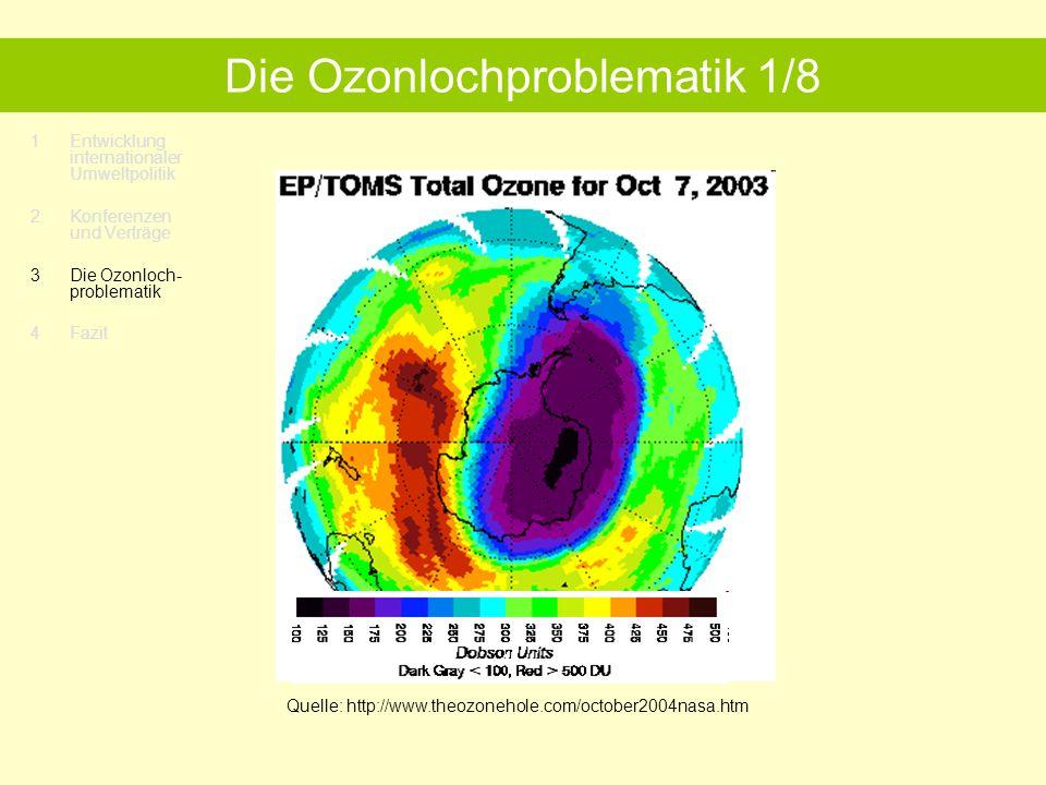 1Entwicklung internationaler Umweltpolitik 2 Konferenzen und Verträge 3 Die Ozonloch- problematik 4 Fazit Die Ozonlochproblematik 1/8 Quelle: http://www.theozonehole.com/october2004nasa.htm