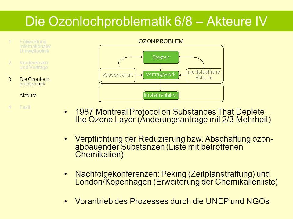 1Entwicklung internationaler Umweltpolitik 2 Konferenzen und Verträge 3Die Ozonloch- problematik Akteure 4 Fazit Die Ozonlochproblematik 6/8 – Akteure IV 1987 Montreal Protocol on Substances That Deplete the Ozone Layer (Änderungsanträge mit 2/3 Mehrheit) Verpflichtung der Reduzierung bzw.