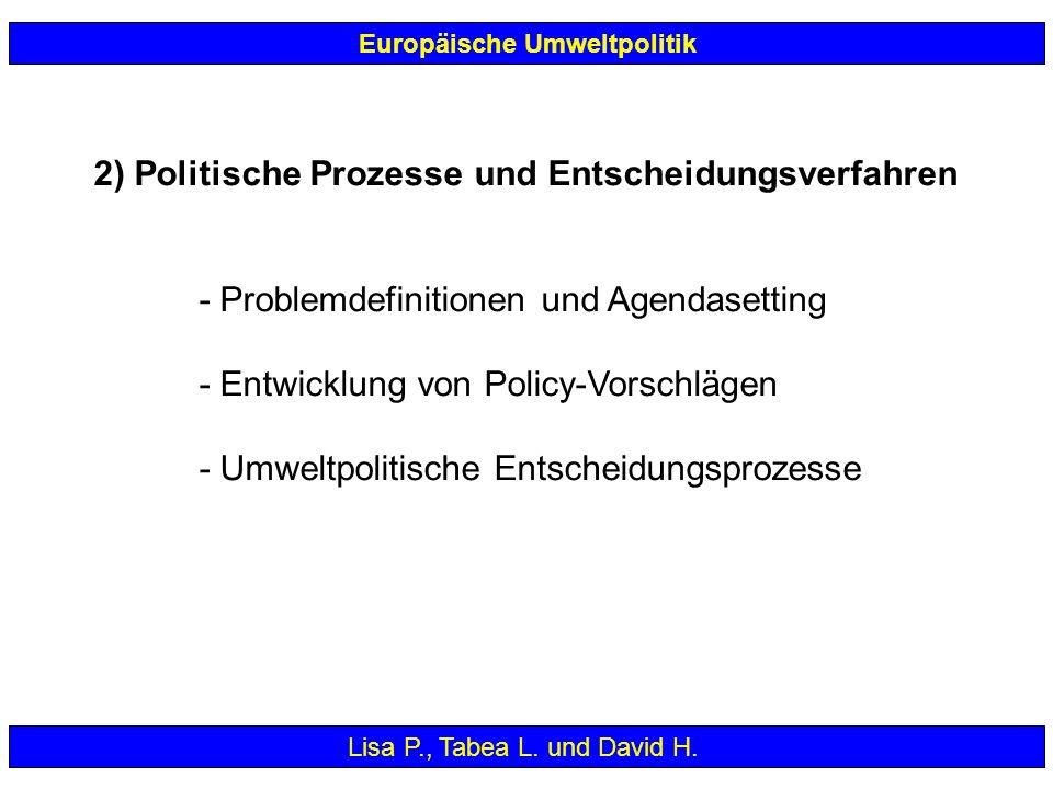 2) Politische Prozesse und Entscheidungsverfahren - Problemdefinitionen und Agendasetting - Entwicklung von Policy-Vorschlägen - Umweltpolitische Ents