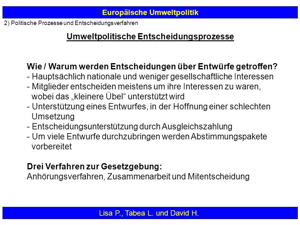 2) Politische Prozesse und Entscheidungsverfahren Europäische Umweltpolitik Wie / Warum werden Entscheidungen über Entwürfe getroffen? - Hauptsächlich