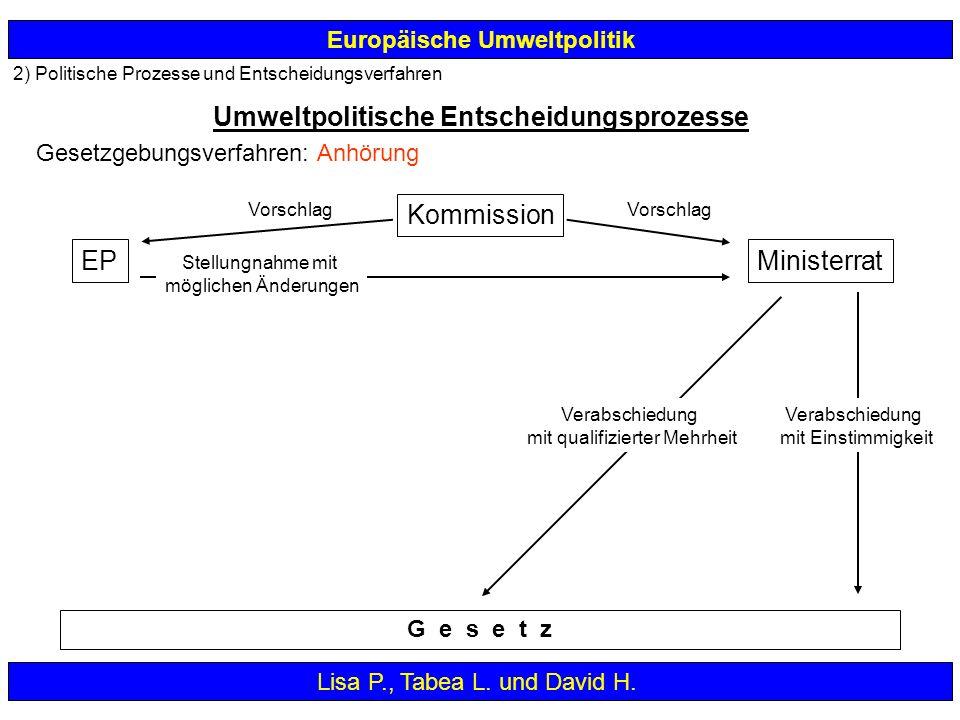 2) Politische Prozesse und Entscheidungsverfahren Europäische Umweltpolitik Umweltpolitische Entscheidungsprozesse Lisa P., Tabea L. und David H. G e
