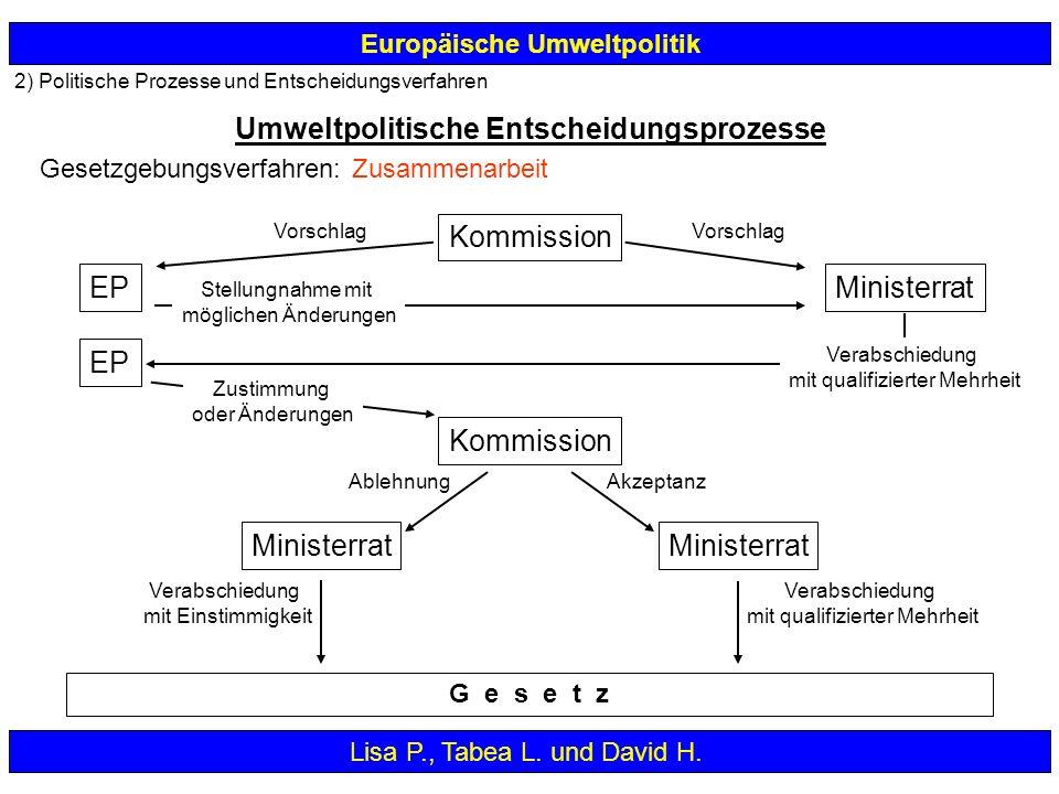 2) Politische Prozesse und Entscheidungsverfahren Europäische Umweltpolitik Umweltpolitische Entscheidungsprozesse Lisa P., Tabea L. und David H. Komm