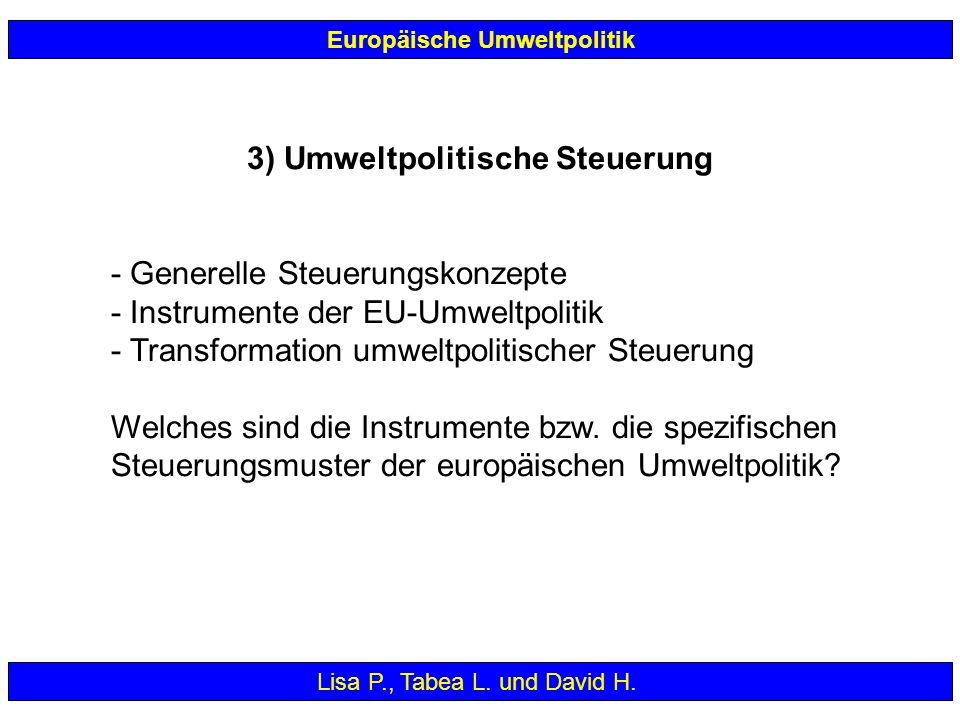 3) Umweltpolitische Steuerung - Generelle Steuerungskonzepte - Instrumente der EU-Umweltpolitik - Transformation umweltpolitischer Steuerung Welches s