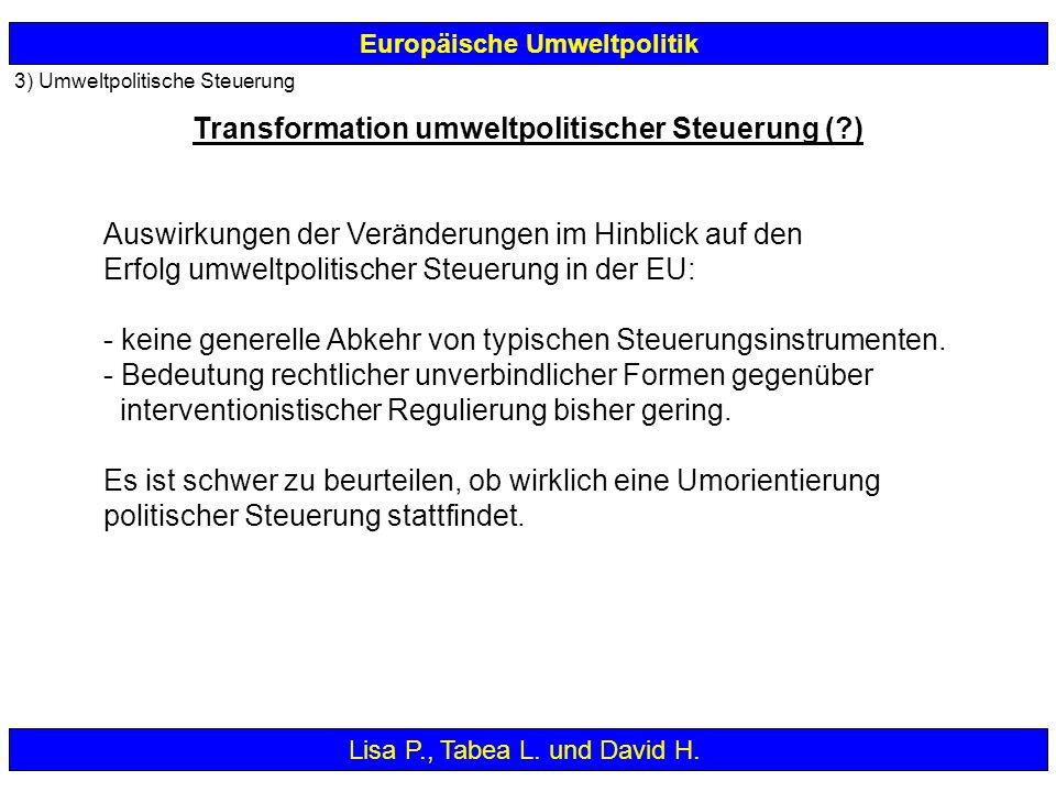 3) Umweltpolitische Steuerung Europäische Umweltpolitik Auswirkungen der Veränderungen im Hinblick auf den Erfolg umweltpolitischer Steuerung in der E
