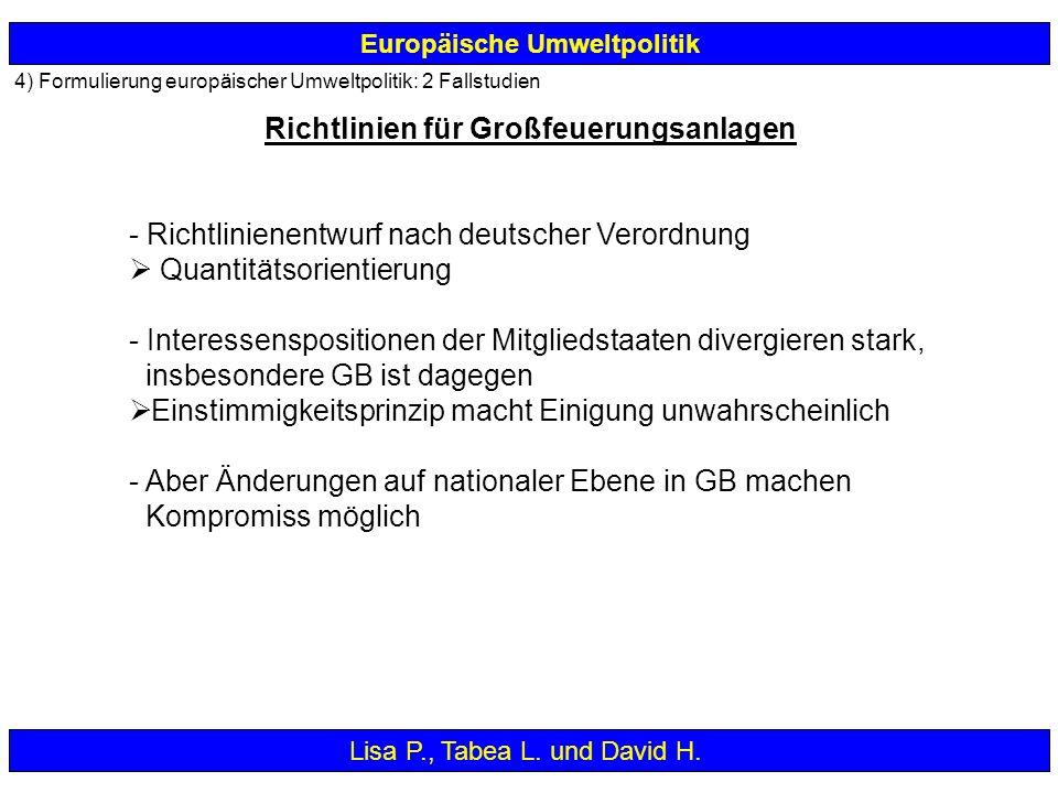 4) Formulierung europäischer Umweltpolitik: 2 Fallstudien Europäische Umweltpolitik - Richtlinienentwurf nach deutscher Verordnung Quantitätsorientier