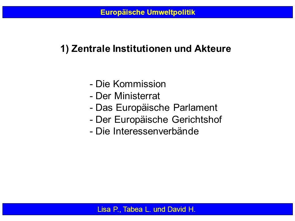 1) Zentrale Institutionen und Akteure - Die Kommission - Der Ministerrat - Das Europäische Parlament - Der Europäische Gerichtshof - Die Interessenver