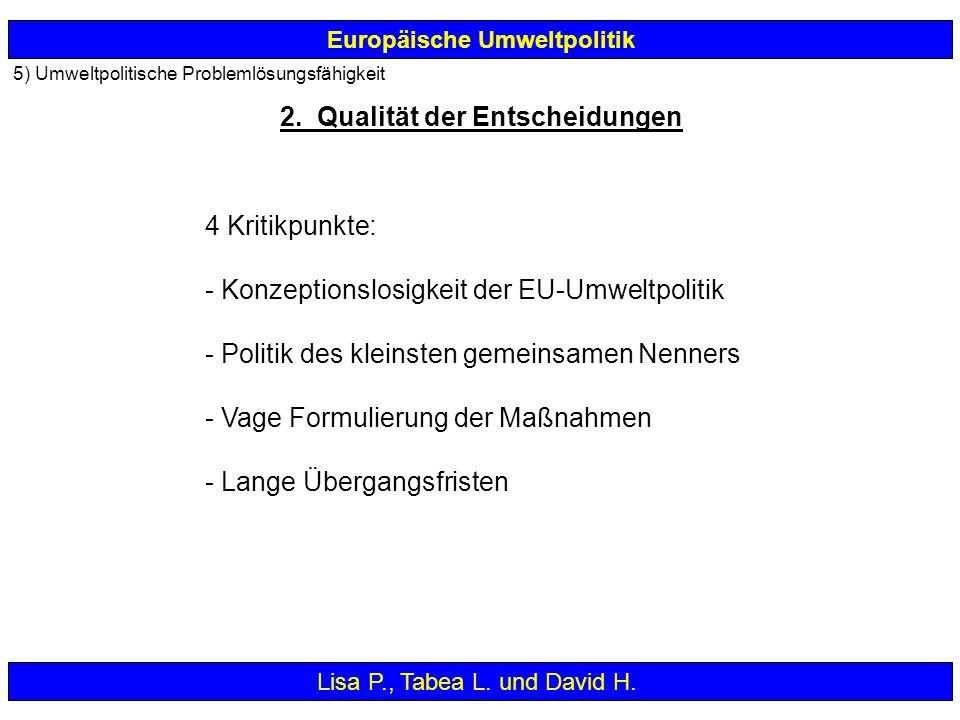 Europäische Umweltpolitik 4 Kritikpunkte: - Konzeptionslosigkeit der EU-Umweltpolitik - Politik des kleinsten gemeinsamen Nenners - Vage Formulierung