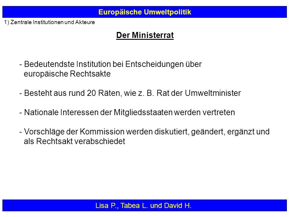 1) Zentrale Institutionen und Akteure - Bedeutendste Institution bei Entscheidungen über europäische Rechtsakte - Besteht aus rund 20 Räten, wie z. B.