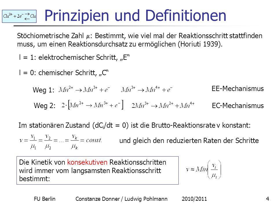 FU Berlin Constanze Donner / Ludwig Pohlmann 2010/20115 Prinzipien und Definitionen Stöchiometrische Zahl : Bestimmt, wie viel mal der geschwindigkeitsbestimmende Schritt stattfinden muss, um einen Reaktionsdurchsatz zu ermöglichen.