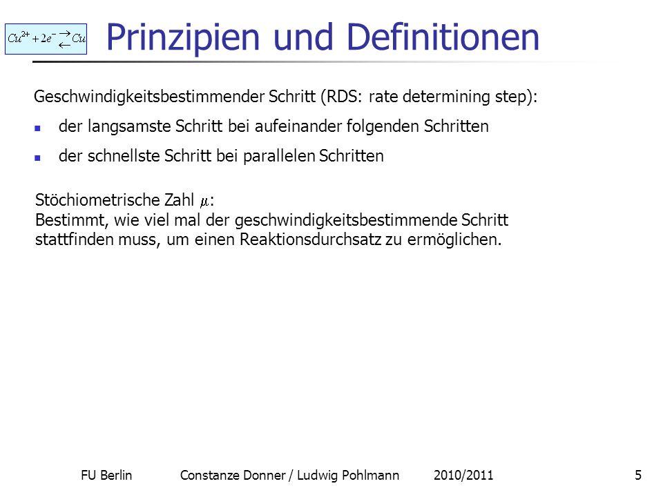 FU Berlin Constanze Donner / Ludwig Pohlmann 2010/201116 2-Schritt-Kinetik Die Reaktionen sind über das Intermediat gekoppelt beide einzelne Butler- Volmer-Kurven verschmelzen zu einer Kurve, wenn das Intermediat die Gleichgewichts- bzw.