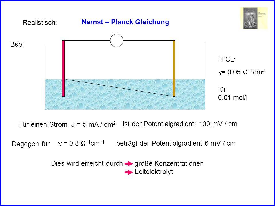 Nernst – Planck Gleichung Realistisch: Bsp: H + CL - = 0.05 1 cm -1 für 0.01 mol/l Für einen Strom J = 5 mA / cm 2 ist der Potentialgradient: 100 mV / cm = 0.8 cm Dagegen für beträgt der Potentialgradient 6 mV / cm Dies wird erreicht durch große Konzentrationen Leitelektrolyt