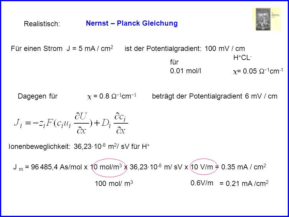 Nernst – Planck Gleichung Realistisch: H + CL - = 0.05 1 cm -1 für 0.01 mol/l Für einen Strom J = 5 mA / cm 2 ist der Potentialgradient: 100 mV / cm = 0.8 cm Dagegen fürbeträgt der Potentialgradient 6 mV / cm Ionenbeweglichkeit: 36,23·10 -8 m 2 / sV für H + J m = 96 485,4 As/mol x 10 mol/m 3 x 36,23·10 -8 m/ sV x 10 V/m = 0.35 mA / cm 2 100 mol/ m 3 = 0.21 mA /cm 2 0.6V/m