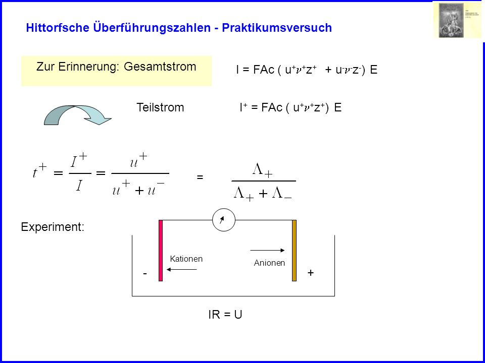 Hittorfsche Überführungszahlen - Praktikumsversuch Experiment: -+ Kationen Anionen IR = U Elektrolyse: Es wird eine Spannung angelegt, welche einen Strom erzwingt Im elektrischen Feld wandern jedoch die Ionen unterschiedlich schnell.