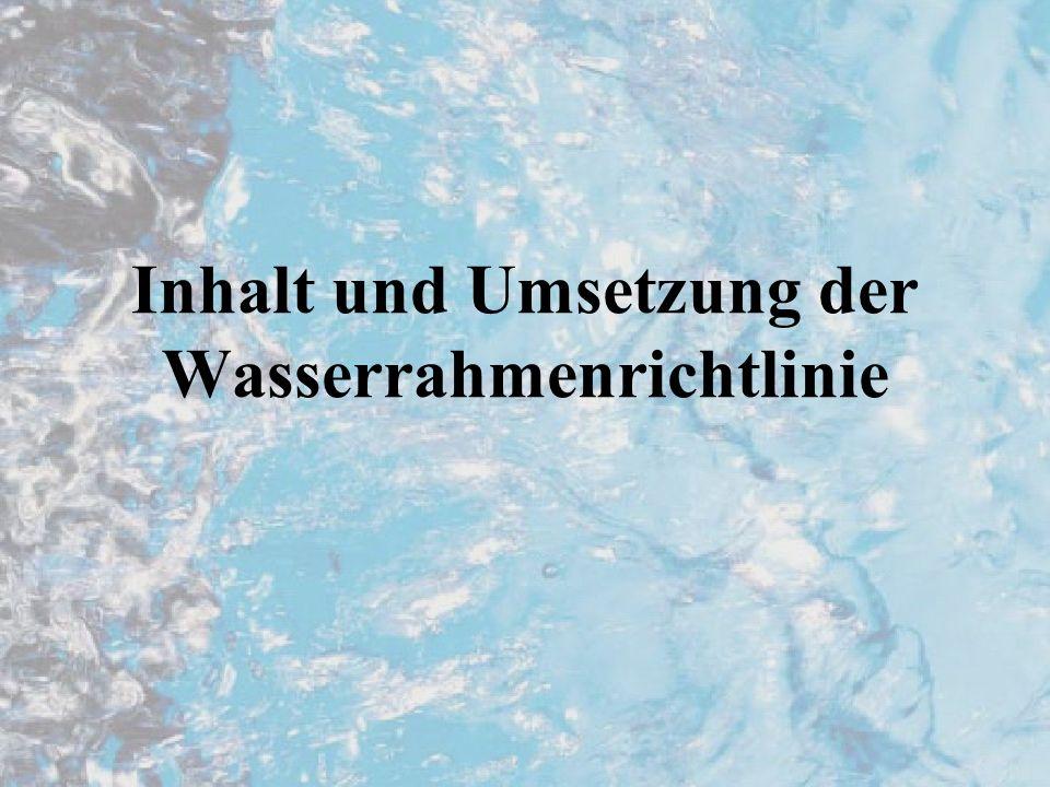Ansätze der Richtlinie Ziel: einen guten chemischen und biologischen Zustand aller Oberflächengewässer und eine gute chemische und mengenmäßige Qualität des Grundwassers bis 2015 (spätestens 2027) zu erreichen Ganzheitlicher ökologischer Ansatz von Quelle bis Mündung (Flußeinzugsgebiete) Bewirtschaftungsplan für gesamten Lauf bzw.
