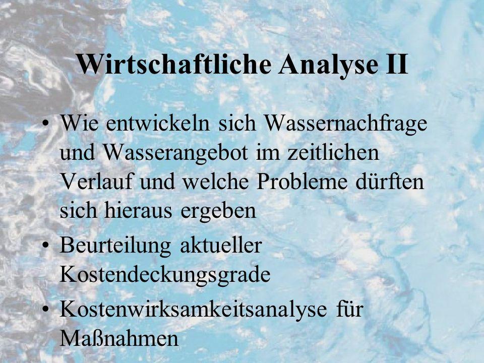 Wirtschaftliche Analyse II Wie entwickeln sich Wassernachfrage und Wasserangebot im zeitlichen Verlauf und welche Probleme dürften sich hieraus ergebe
