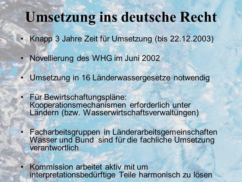Umsetzung ins deutsche Recht Knapp 3 Jahre Zeit für Umsetzung (bis 22.12.2003) Novellierung des WHG im Juni 2002 Umsetzung in 16 Länderwassergesetze notwendig Für Bewirtschaftungspläne: Kooperationsmechanismen erforderlich unter Ländern (bzw.