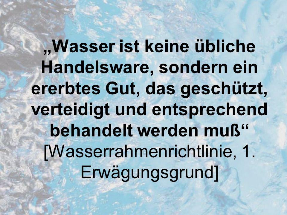 Gliederung 1.Einführung 2.Entstehung der europäischen Wasserrahmenrichtlinie 3.Verhandlungprozesse 4.Neue Ansätze der Wasserrahmenrichtlinie 5.Umsetzung der Wasserrahmenrichtlinie in Deutschland 6.Chancen, Möglichkeiten und Kritik 7.Umsetzung der Wasserrahmenrichtlinie in Berlin
