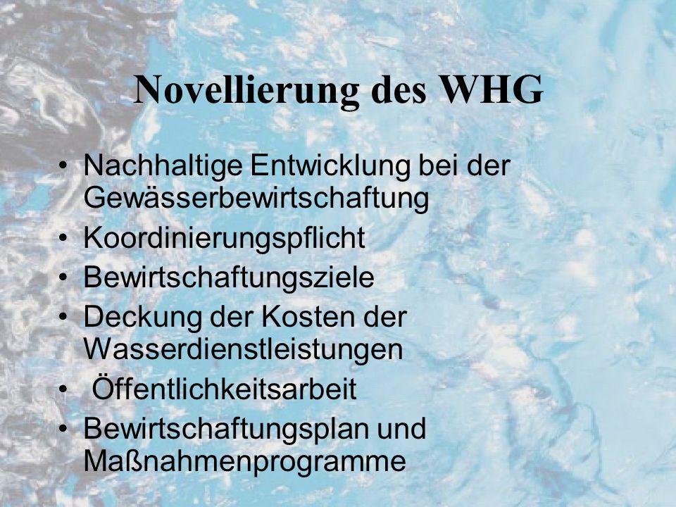 Novellierung des WHG Nachhaltige Entwicklung bei der Gewässerbewirtschaftung Koordinierungspflicht Bewirtschaftungsziele Deckung der Kosten der Wasserdienstleistungen Öffentlichkeitsarbeit Bewirtschaftungsplan und Maßnahmenprogramme
