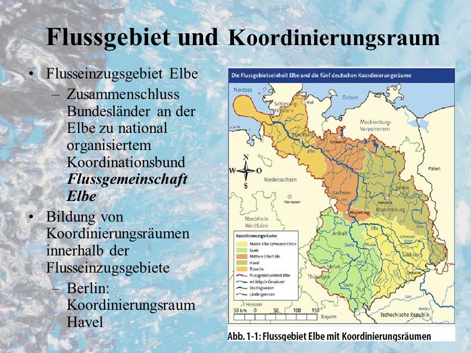 Flussgebiet und Koordinierungsraum Flusseinzugsgebiet Elbe –Zusammenschluss Bundesländer an der Elbe zu national organisiertem Koordinationsbund Flussgemeinschaft Elbe Bildung von Koordinierungsräumen innerhalb der Flusseinzugsgebiete –Berlin: Koordinierungsraum Havel