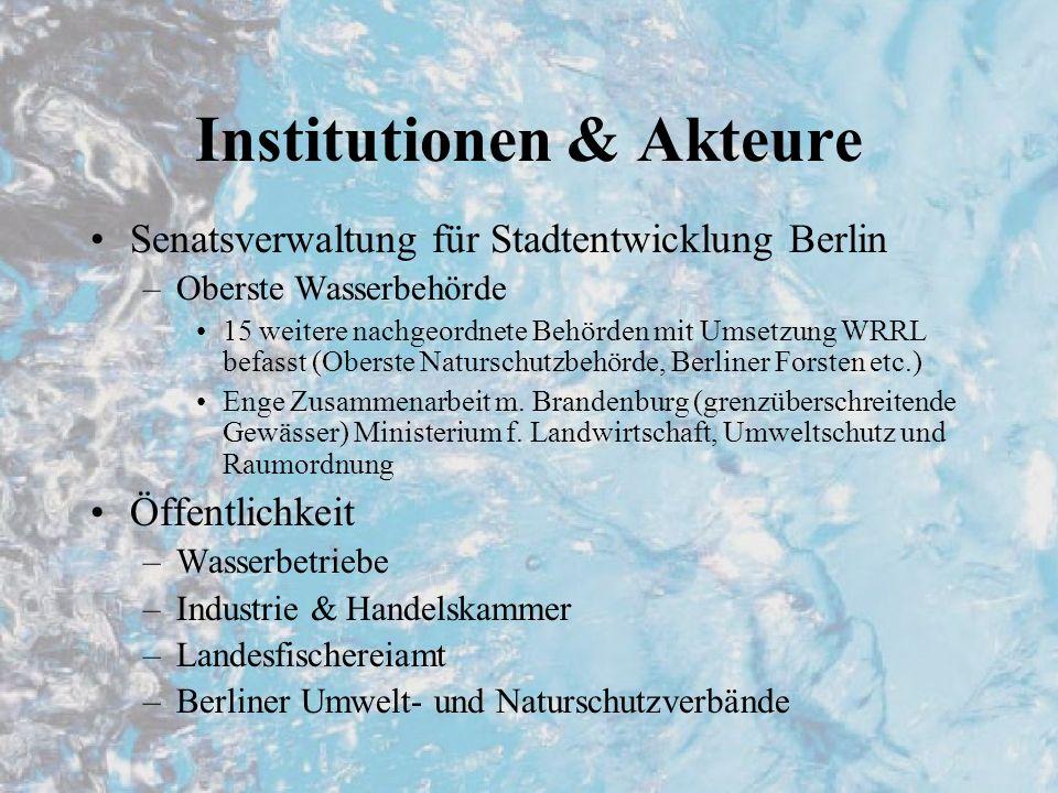 Stand der Umsetzung Umsetzung in Landesrecht noch nicht abgeschlossen –Berliner Wassergesetz novelliert, aber noch nicht in Kraft Bestandesaufnahme abgeschlossen –Zuordnung Einzugsgebiete –Typisierung Ökosysteme –Erfassung signifikanter Belastungen