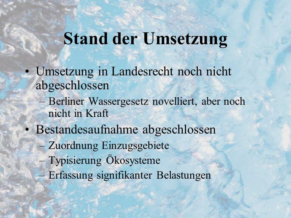 Stand der Umsetzung Umsetzung in Landesrecht noch nicht abgeschlossen –Berliner Wassergesetz novelliert, aber noch nicht in Kraft Bestandesaufnahme ab
