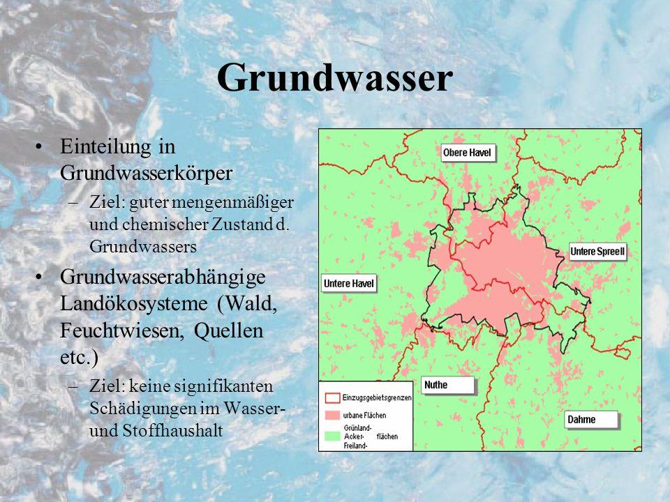 Grundwasser Einteilung in Grundwasserkörper –Ziel: guter mengenmäßiger und chemischer Zustand d. Grundwassers Grundwasserabhängige Landökosysteme (Wal