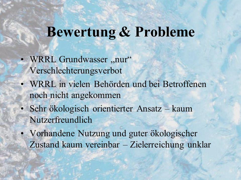 Bewertung & Probleme WRRL Grundwasser nur Verschlechterungsverbot WRRL in vielen Behörden und bei Betroffenen noch nicht angekommen Sehr ökologisch orientierter Ansatz – kaum Nutzerfreundlich Vorhandene Nutzung und guter ökologischer Zustand kaum vereinbar – Zielerreichung unklar